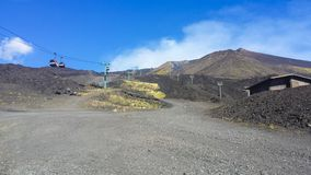 Teleferic leading to mount Etna royalty free stock photos