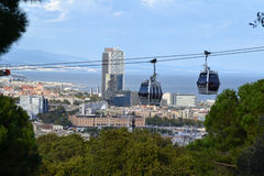 Teleferic of Montjuic in Barcelona, Spain Royalty Free Stock Photography