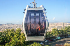 Teleferic Motjuic och barcelona cityscape Royaltyfri Fotografi