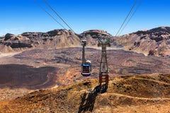 Teleferica su Volcano Teide nell'isola di Tenerife - Spagna color giallo canarino fotografia stock libera da diritti