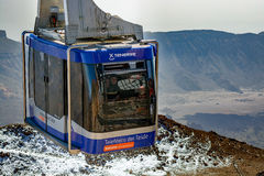 Teleferico上升至泰德峰火山,特内里费岛峰顶的缆车vagon  免版税库存照片
