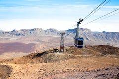 Teleferico缆车长平底船, Teide火山 库存图片