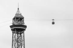 Teleferico Montjuic e cabina a Barcellona Immagini Stock Libere da Diritti
