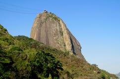 Teleferique elevator till det Sugarloaf berget i Rio de Janeiro Arkivbild