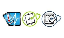 Telefonów zdrowie dylemat i naprawa set ilustracji