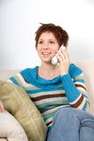 Am Telefon Stockbild