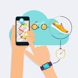 Telefon app för hållande mobil för hand smart med spåret som visas med ro royaltyfri illustrationer