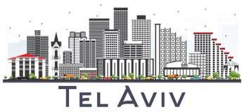 Telefon Aviv Israel City Skyline mit Gray Buildings Isolated auf Whi vektor abbildung