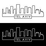 Telefon Aviv Skyline lineare Art vektor abbildung