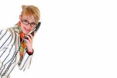 telefon bizneswomanu young Obrazy Royalty Free