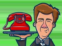 Telefon Butler Cartoon royaltyfri illustrationer