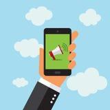 Telefon, das eMail im digitalen Format sendet Stockbild