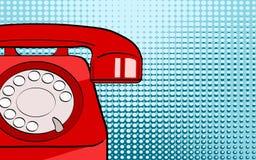 Telefon för bakgrund för popkonst röd gammal på ljus prickbakgrund för yo vektor illustrationer