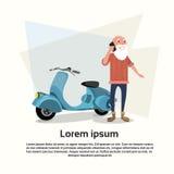 Telefon för cell för cyklist för hög man talande smart royaltyfri illustrationer