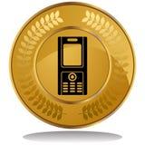 telefon för cellmyntguld royaltyfri illustrationer