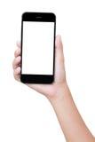 Telefon för Closeuphandinnehav som isoleras med den snabba banan royaltyfria bilder