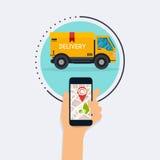 Telefon för hållande mobil för hand smart med mobil app-leveranstrackin stock illustrationer