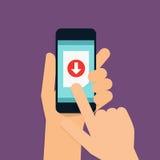Telefon för hållande mobil för hand smart med nedladdningen app Modern vektor vektor illustrationer