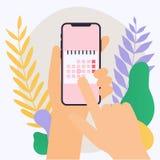 Telefon för hållande mobil för hand smart med kalenderplan Vektormoder vektor illustrationer