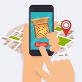 Telefon för hållande mobil för hand smart med leveransmat app Beställning fo stock illustrationer