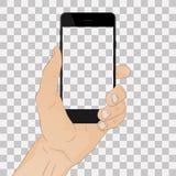 Telefon för handinnehavsvart royaltyfri illustrationer