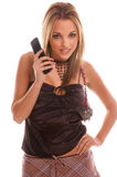telefon för kameraflickaglamour arkivbilder