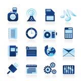 telefon för kapacitet för symbolsinternetkontor stock illustrationer