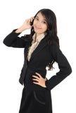 Telefon för kvinnaholdingmobil Arkivbilder