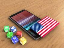 telefon för mobil 3d Arkivfoto