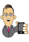 telefon för mobil för affärsmanholdingillustration royaltyfri illustrationer