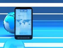 telefon för mobil för celljordklotinternet royaltyfri illustrationer