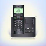 Telefon för trådlös telefon med telefonsvararen och grund på en vit bakgrund. Arkivfoto