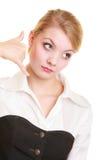 Telefon Förvånad affärskvinnadanande kallar mig gesten Royaltyfri Foto