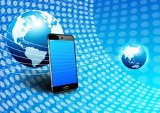 Telefon-globaler Digital-Kommunikations-Welthintergrund Lizenzfreie Stockfotografie