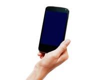 Telefon i handen som isoleras på vit Royaltyfria Bilder