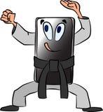 Telefon im Karatestand Lustige Karikatur über einen beweglichen Actionfilm lizenzfreie abbildung