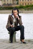 telefon komórki dziewczyny Zdjęcia Stock