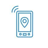 Telefon komórkowy basztowa ikona z emitować pinging przekaz macha royalty ilustracja