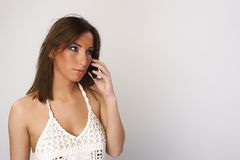 telefon komórkowy dziewczyny Zdjęcie Royalty Free