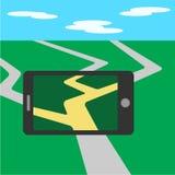 Telefon komórkowy, gry parawanowy zastosowanie Płaski telefonu komórkowego wektor Zdjęcia Stock