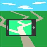 Telefon komórkowy, gry parawanowy zastosowanie Płaski telefonu komórkowego wektor Zdjęcie Stock