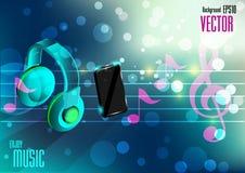Telefon komórkowy i słuchawka z muzyki notatką Zdjęcie Stock