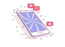 Telefon komórkowy Ikony ogólnospołeczne sieci Pojęcie zależność na ogólnospołecznych sieciach ilustracja wektor