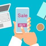 Telefon komórkowy jak sklep online Online zakupy wektoru ilustracja ilustracji
