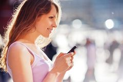 telefon komórkowy kobieta Obraz Royalty Free