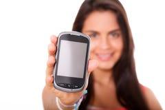 telefon komórkowy kobiety potomstwa Obrazy Stock