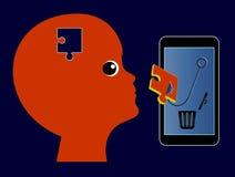 Telefon Komórkowy kontroluje umysł dziecko ilustracja wektor
