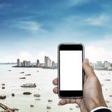 Telefon komórkowy na ręce z, kopii przestrzeń na telefonu ekranie, i Obrazy Stock