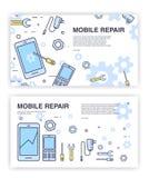 Telefon komórkowy naprawa Sztandary z smartphone i narzędziami usługowy elektroniczny technic ilustracji