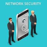 Telefon komórkowy ochrona, telefonu komórkowego ogłoszenia towarzyskiego dostęp przez palca, użytkownik autoryzacja, nazwa użytko ilustracja wektor